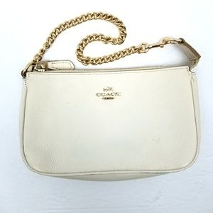 Coach White Pebbled Leather Chain Wrislet Clutch
